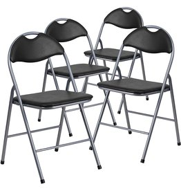 Flash Furniture Flash Furniture 4 Pack HERCULES Series Black Vinyl Metal Folding Chair with Carrying Handle