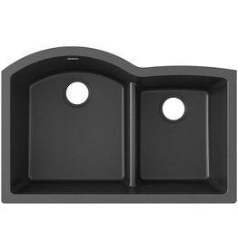 Elkay Elkay Quartz Classic ELGHU3322RBK0 Black Offset 60/40 Double Bowl Undermount Sink with Aqua Divide
