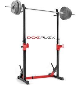 DOEPLEX Doeplex [2021 Upgrade] Multi-Function Adjustable Squat Rack Exercise Stand - 550-Pound Capacity (Black/Red)