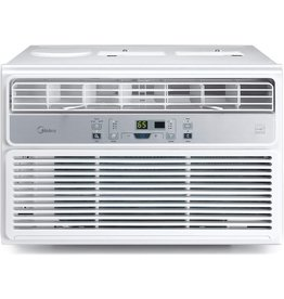 Midea MIDEA MAW12R1BWT 12,000 BTU EasyCool Window Air Conditioner, Fan-Cools, Circulates, and Dehumidifies Up to 550 Square Feet, Has A Reusable Filter, and Includes an LCD Remote Control, 12000, White