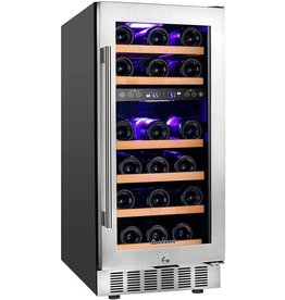 AAOBOSI AAOBOSI 15 Inch Wine Cooler, 28 Bottle Dual Zone Wine Refrigerator with Stainless Steel Tempered Glass Door, Temp Memory Function, Fit Champagne Bottles, Freestanding and Built-in Style