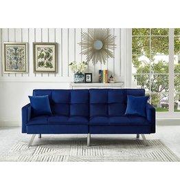 Legend Furniture Legend Furniture Comfortable Velvet Sleeper Sofa Bed Sofabed, Blue