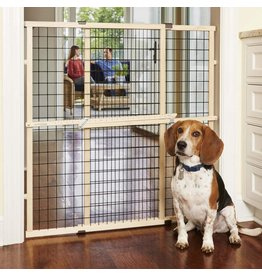"""MYPET MYPET North States 37"""" Tall & 48"""" Wide Wire Mesh Gate: Simply Expand and Lock in Place. Pressure Mount. Fits 29.5""""- 48"""" Wide (37"""" Tall, Sustainable Hardwood)"""