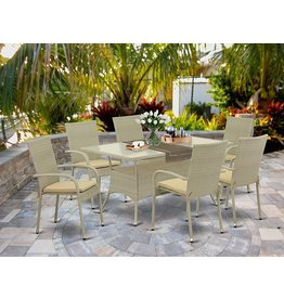 East West Furniture East West Furniture OSGU703A 7Pc Outdoor Natural Color Wicker Dining Set Includes a Patio Table and 6 Balcony Backyard Armchair with Linen Fabric Cushion
