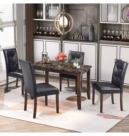 MAFOROB MAFOROB 5-Piece Dining Table Set with 4 Upholstered Chairs Home Furniture for Kitchen Restaurant, Brown