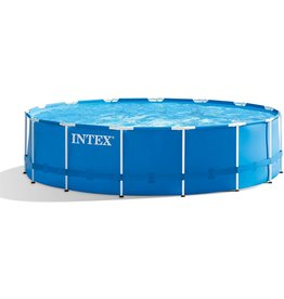 Intex Intex 28241EH 15ft x 48in Metal Frame Outdoor Above Ground Swimming Pool Set with Filter Pump, Ladder, Ground Cloth and Pool Cover