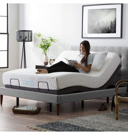 LUCID LUCID L300 Bed Base-5 Minute Assembly-Dual USB Charging Stations-Head and Foot Incline-Wireless Remote Adjustable, Queen, Charcoal