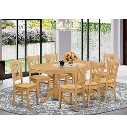 East West Furniture 9 Pc Dining room set-Double Pedestal Oval and Leaf and 8 Dining Chairs