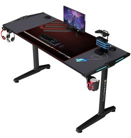 DESIGNA DESIGNA 55 inch Gaming Desk with LED Lights, Computer Desk with Free Mouse Pad, T-Shaped Professional Writing Table Workstation with USB Handle Rack & Cup Holder& Headphone Hook, Black