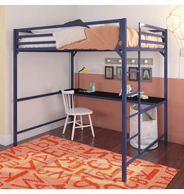 DHP DHP Miles Metal Full Loft Bed with Desk, Blue