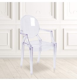 Flash Furniture Flash Furniture 4 Pack Ghost Chair with Arms in Transparent Crystal
