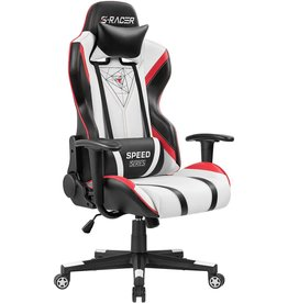 Homall Homall Gaming Chair Racing Office High Back PU Leather Chair Computer Desk Chair Video Game Chair Ergonomic Swivel Chair with Headrest and Lumbar Support (Black&White)