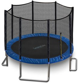 SereneLife Outdoor Trampoline with Enclosure 12FT - Full Size Backyard Trampoline with Safety Net - Enclosed Trampoline for Kids, Teen, Adult - 12 Feet Indoor Outdoor Trampolines - SereneLife SLTRA12BL