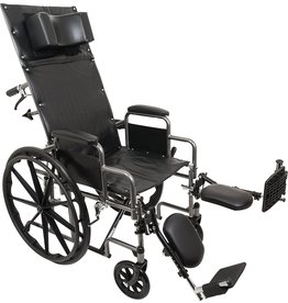 Roscoe Medical ProBasics Standard Reclining Wheelchair - Padded Detachable Desk Length Arms - 300 Pound Weight Capacity - Elevating Leg Rest, 16 x 16 inch Seat