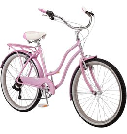 Schwinn Schwinn Perla Women's Cruiser Bicycle, Featuring 18-Inch Step-Through Steel Frame and 7-Speed Drivetrain with Front and Rear Fenders, Rear Rack, and 26-Inch Wheels, Pink