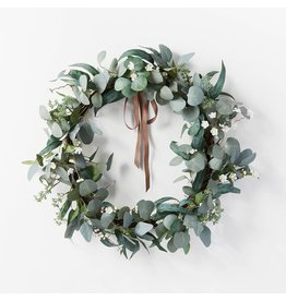 """Collection 28"""" Artificial Eucalyptus Leaves and Flower Petal Wreath White - Threshold Collection Designed with Studio McGee"""