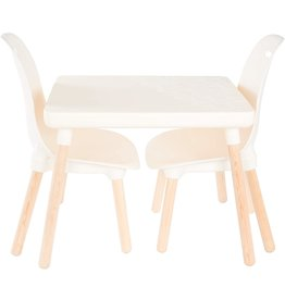 B. spaces by Battat B. Toys by Battat Spaces by Battat – Kids Furniture Set – 1 Craft Table & 2 Kids Chairs with Natural Wooden Legs (Ivory)