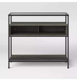 Project 62 Fulham Glass Top Console Table with Wood Shelves