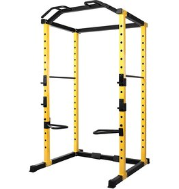 HulkFit HulkFit 1000-Pound Capacity Multi-Function Adjustable Power Cage with J-Hooks, Safety Bars or Safety Straps, Power Cage Only, Yellow