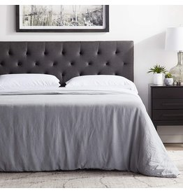 LUCID LUCID Mid-Rise Upholstered Headboard-Adjustable Height from 34 to 46, King/Cal King, Charcoal