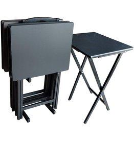 Plastic Development Group Plastic Development Group Heavy Duty Versatile Compact Folding Portable Table 5 Piece Wood Television TV Tray Set, Black