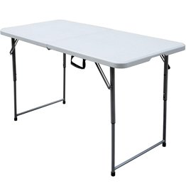 Plastic Development Group Plastic Development Group PDG-802 4 Foot Blow Molded Bi Foldable Utility Portable Garage Sale Event Dining Banquet Table with Carrying Handle, White
