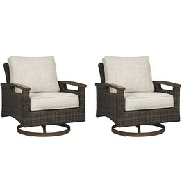 Signature Design by Ashley Signature Design by Ashley Paradise Trail Outdoor Swivel Patio Lounge Chair, Set of 2, Medium Brown