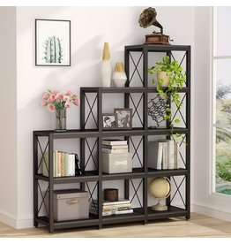Tribesigns Tribesigns 12 Shelves Bookshelf, Industrial Ladder Corner Bookshelf 9 Cubes Stepped Etagere Bookcase, Rustic 5-Tier Display Shelf Storage Organizer for Home Office (Black)
