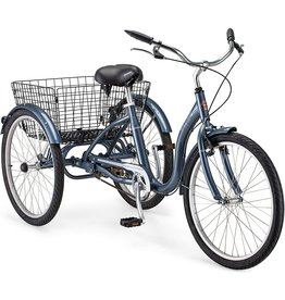 Schwinn Schwinn Meridian Adult Tricycle with 24-Inch Wheels in Slate Blue, with Low Step-Through Aluminum Frame, Front and Rear Fenders, Adjustable Handlebars, Large Cruiser Seat, and Rear Folding Basket
