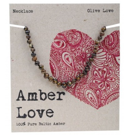 Amber Love Children's Necklace Baltic Amber - Olive Love 33cm