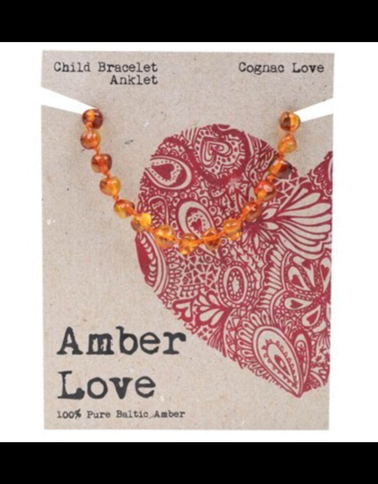 Amber Love Children's Bracelet/Anklet Baltic Amber - Cognac Love 14cm