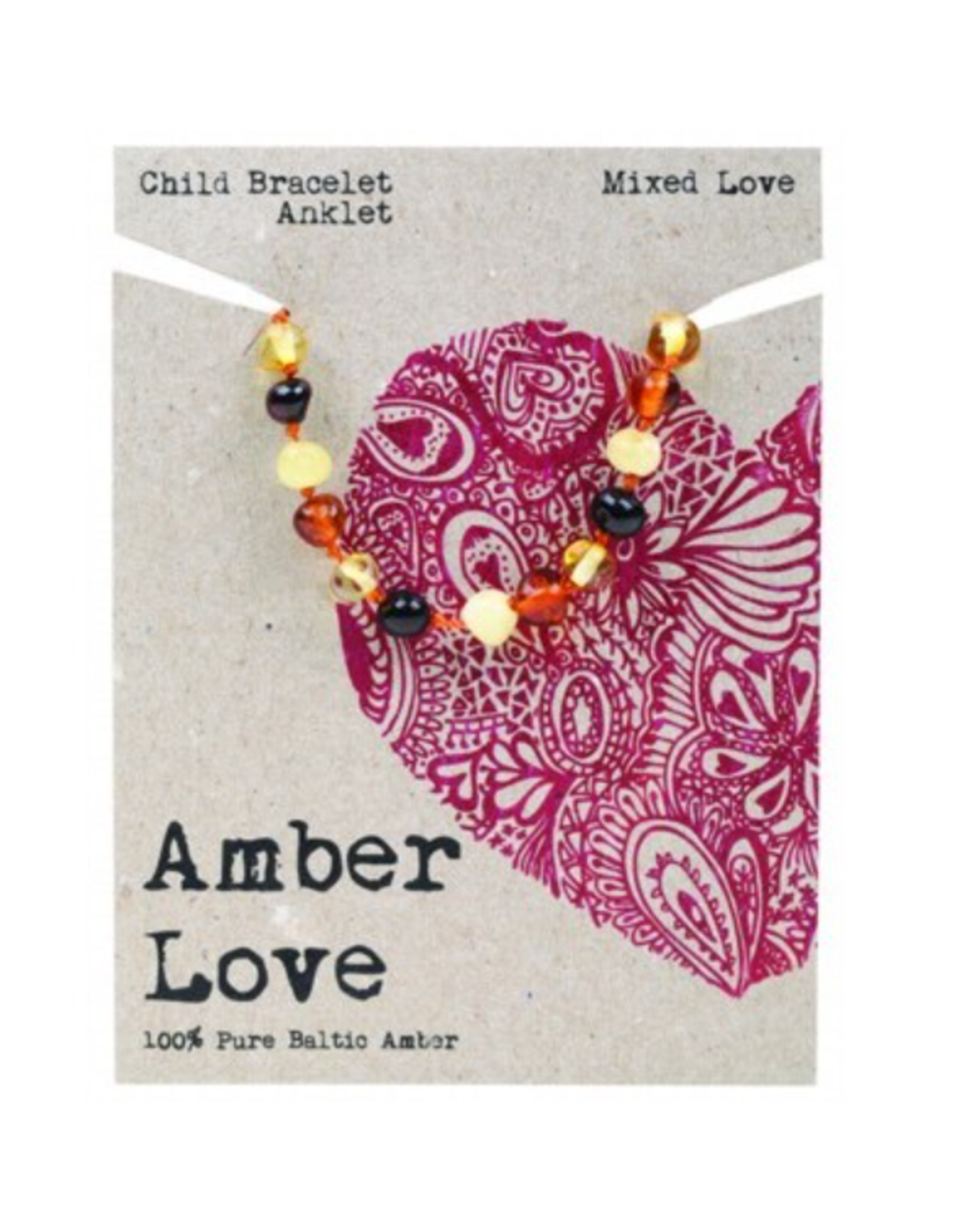 Amber Love Children's Bracelet/Anklet Baltic Amber - Mixed Love 14cm