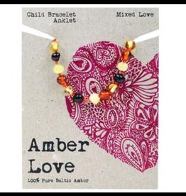Amber Love Children's Bracelet/Anklet Baltic Amber - Mixed Love 14cm