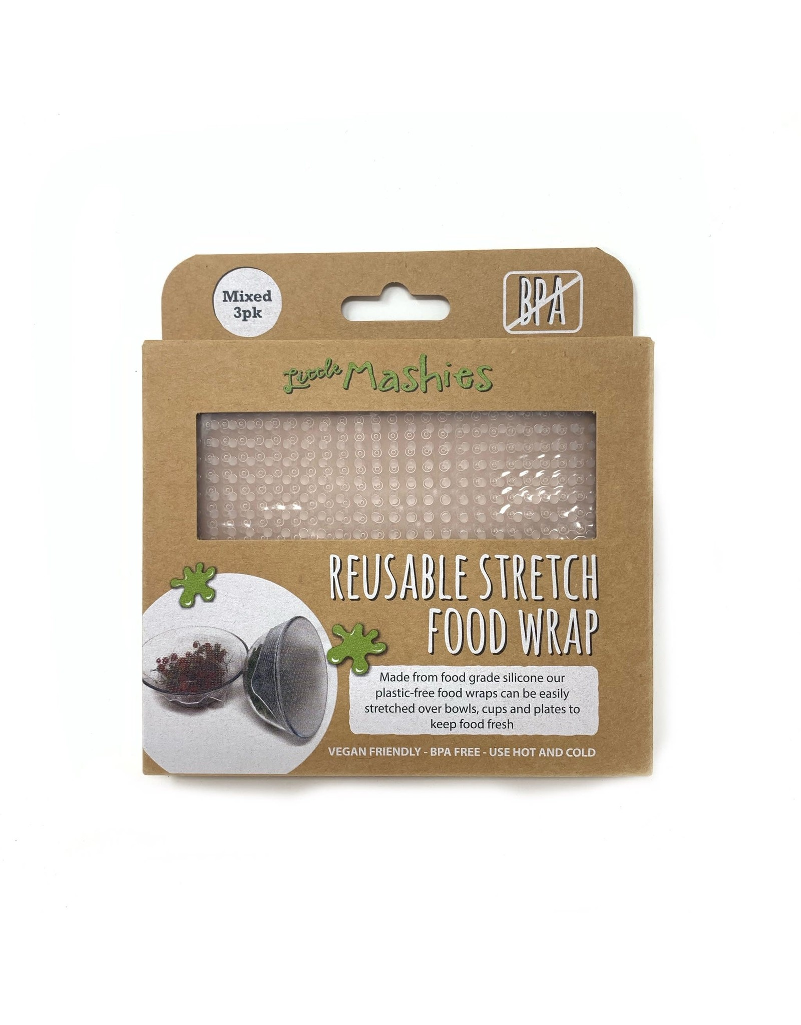 Little Mashies Reusable Stretch Silicone Food Wrap - Pack Of 3