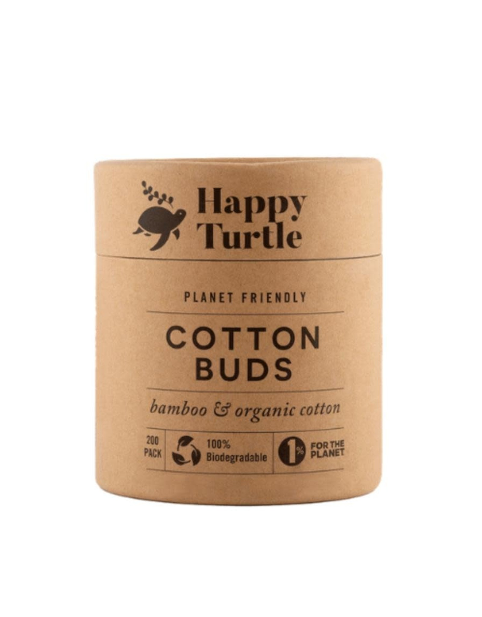 Happy Turtle Organic Cotton & Bamboo Cotton Buds - Round Tub - 200 pack