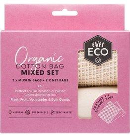 Ever Eco Reusable Produce Bags Organic Cotton Mixed Set 4