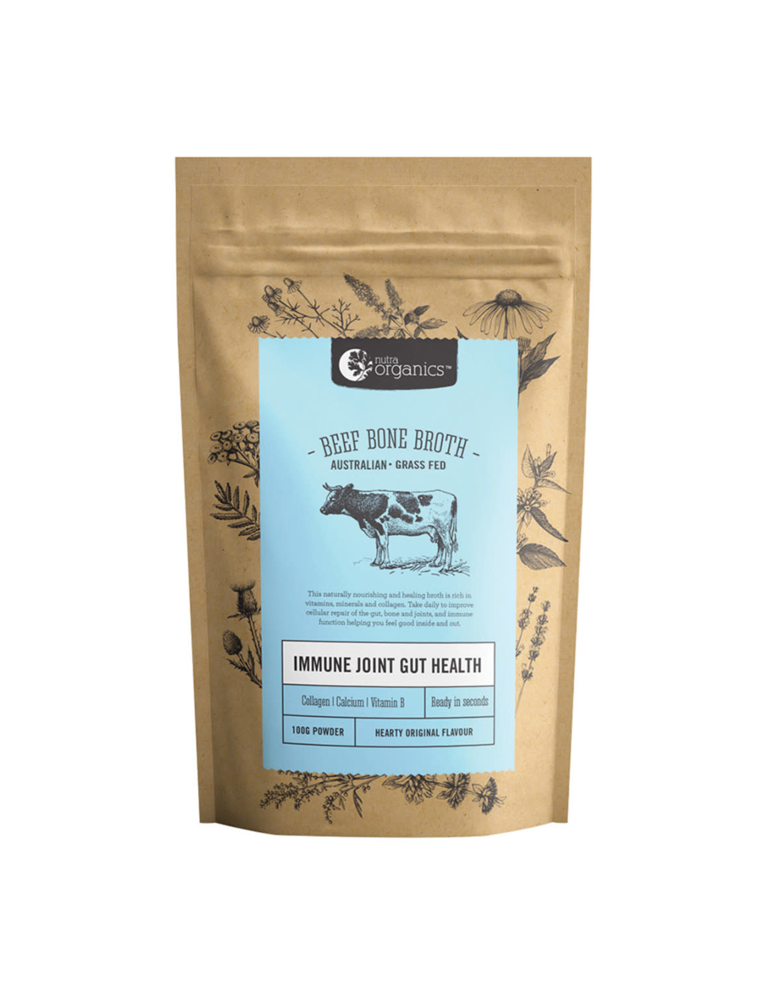 NutraOrganics Beef Bone Broth Powder Hearty Original 100g