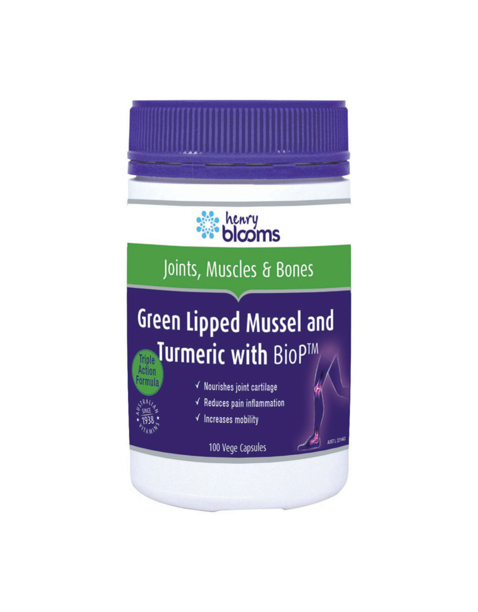 Blooms Blooms Green Lipped Mussel 500mg Turmeric with BioP 100vc