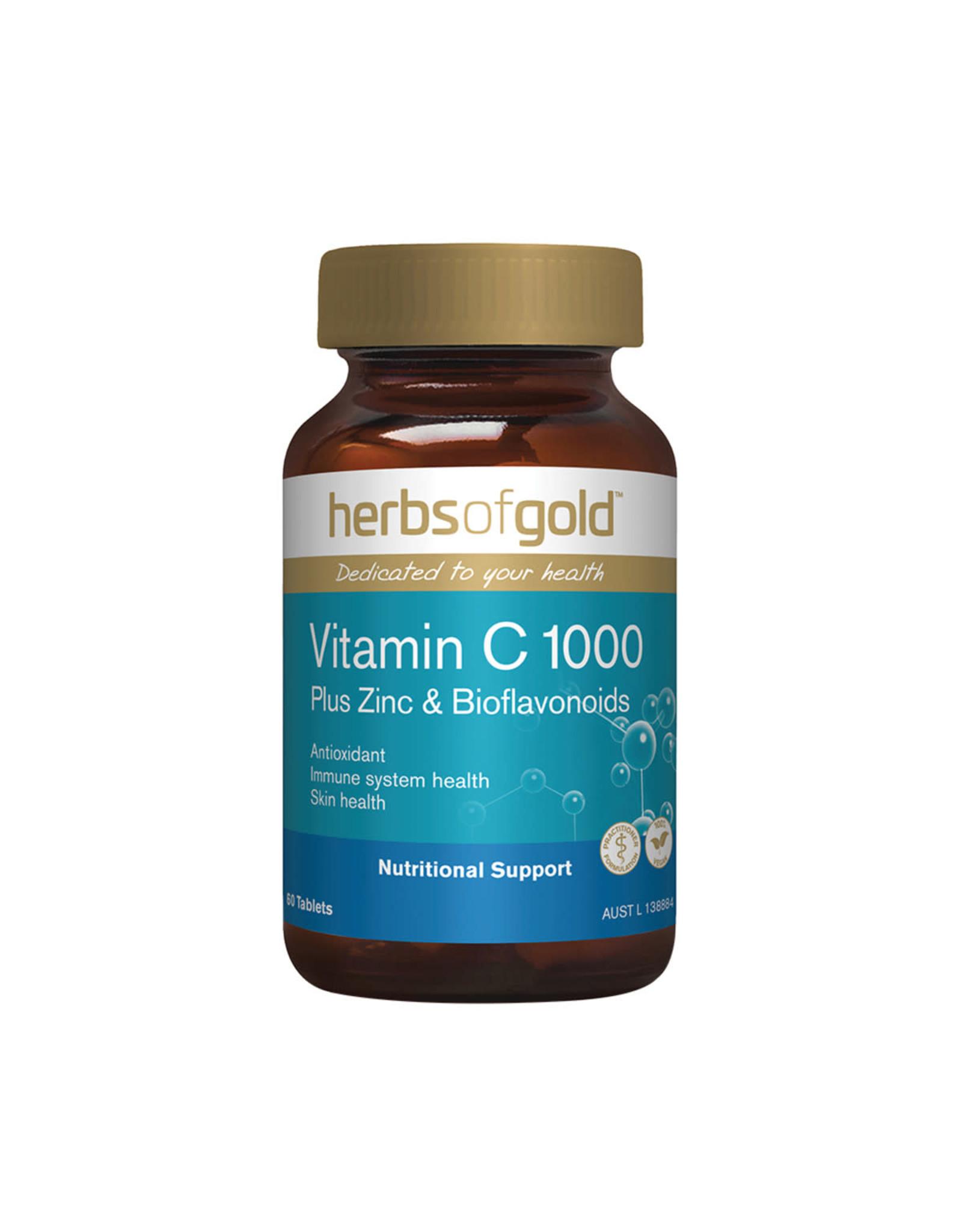 Herbs of Gold Vitamin C 1000 Plus Zinc & Bioflavonoids 60t