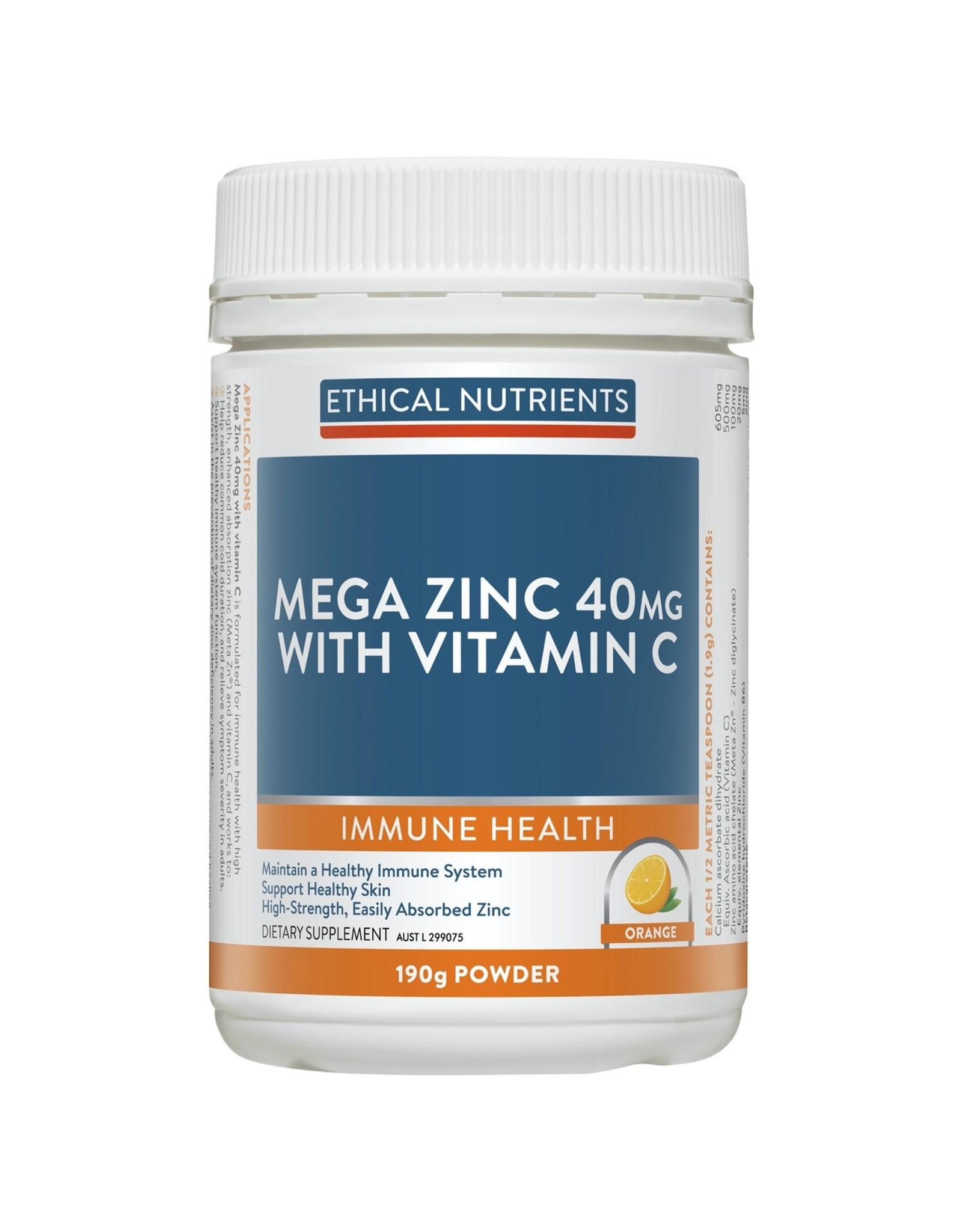 Ethical Nutrients Mega Zinc 40mg Powder With Vitamin C