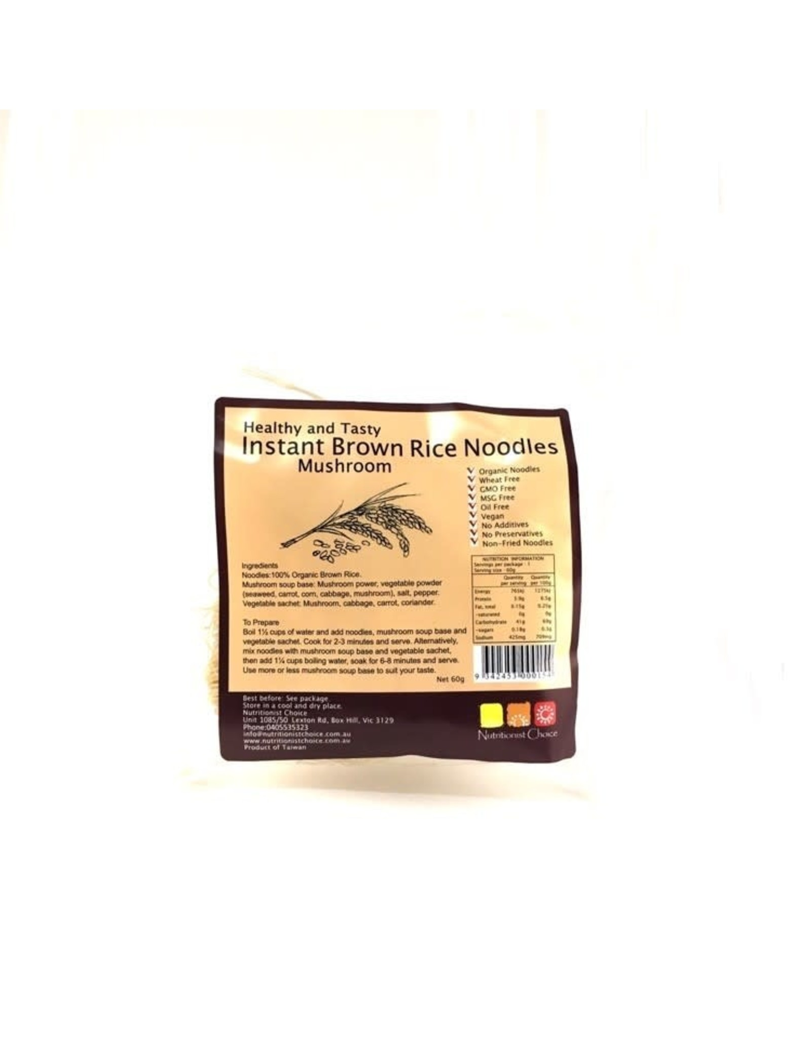 Nutritionist Choice Brown Rice Instant Noodles Mushroom 60g