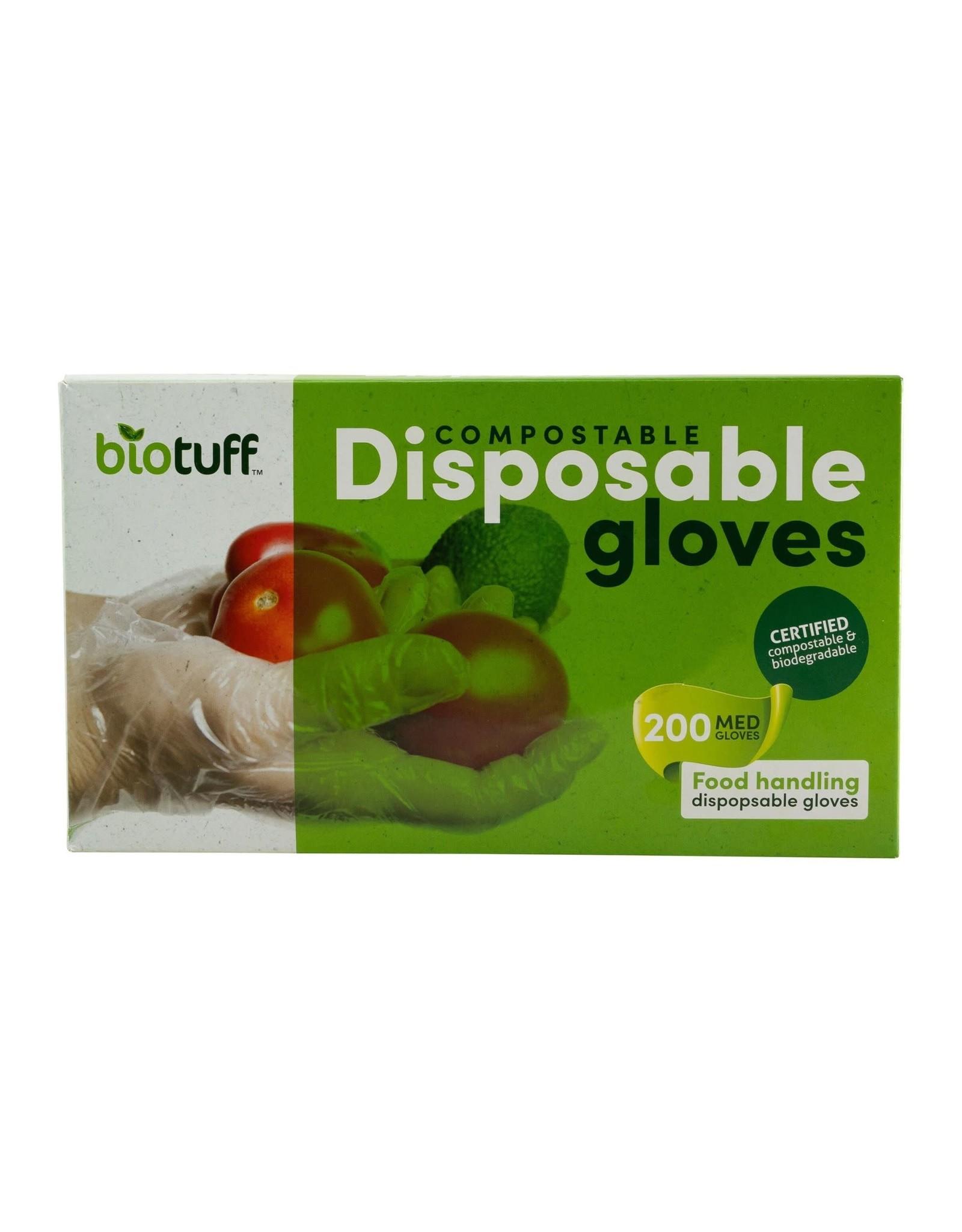 Biotuff Compostable Disposable Gloves Medium 200pk
