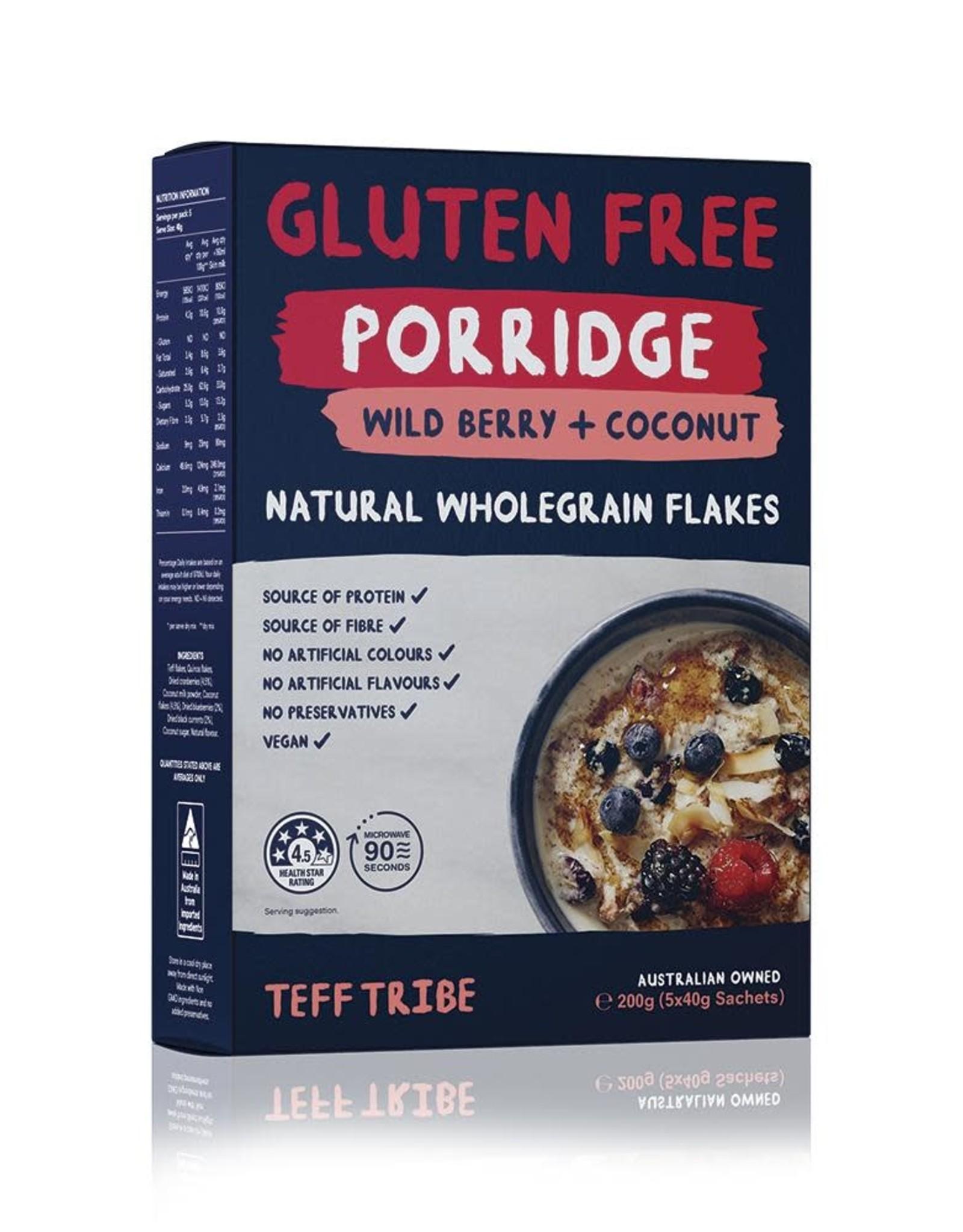 Teff Tribe Teff Porridge - Wild Berry & Coconut 5x40g