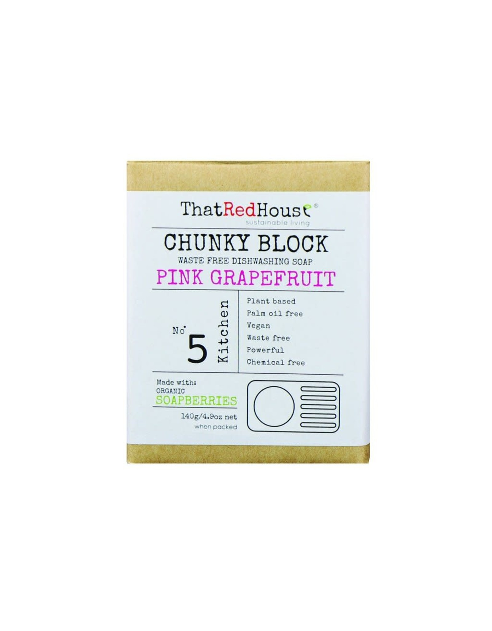 That Red House Chunky Block Dishwashing Soap Pink Grapefruit - 140g