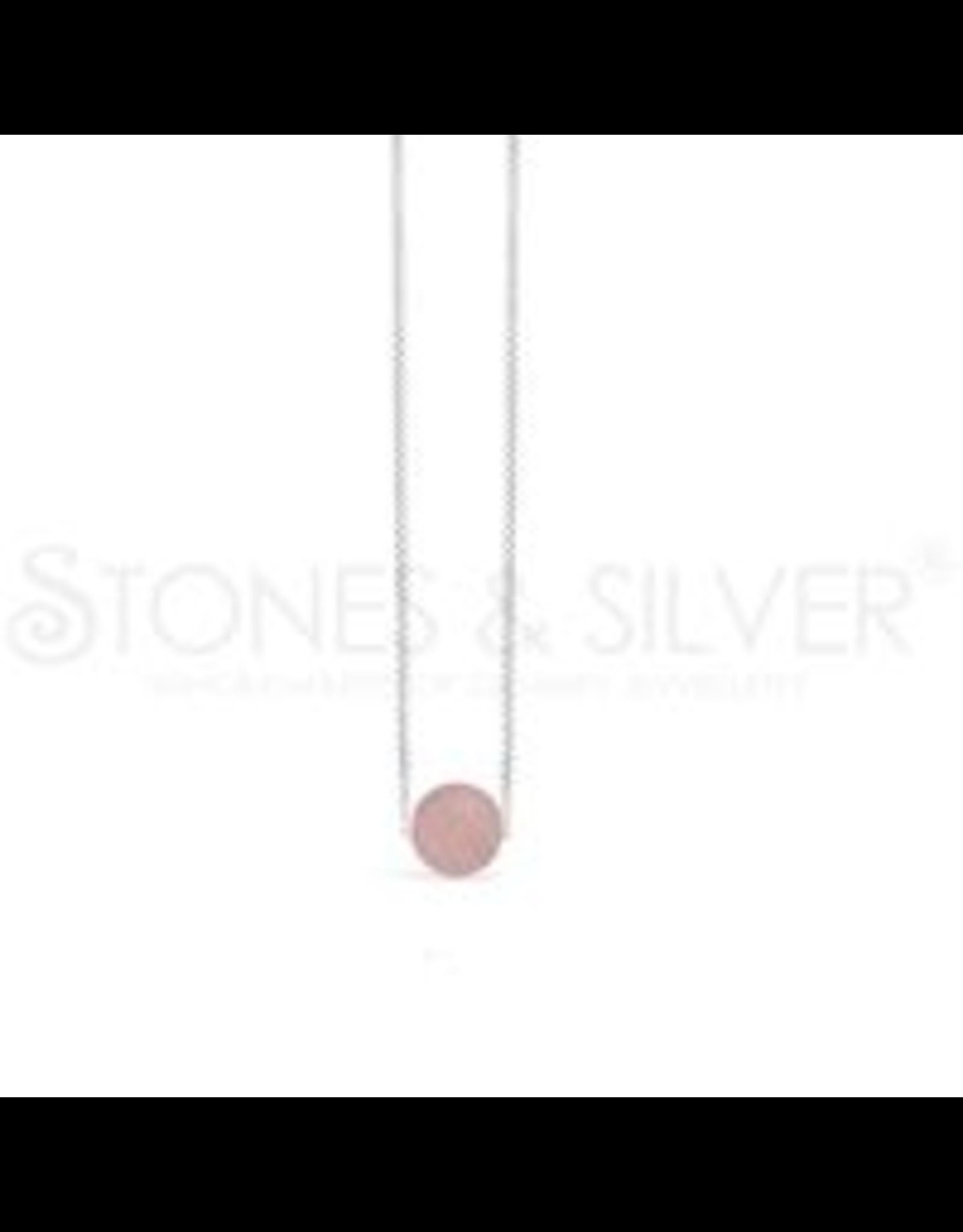 Stones & Silver Rose Quartz Ball Necklace 40cm
