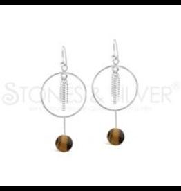 Stones & Silver Tiger Eye Hoop Earrings
