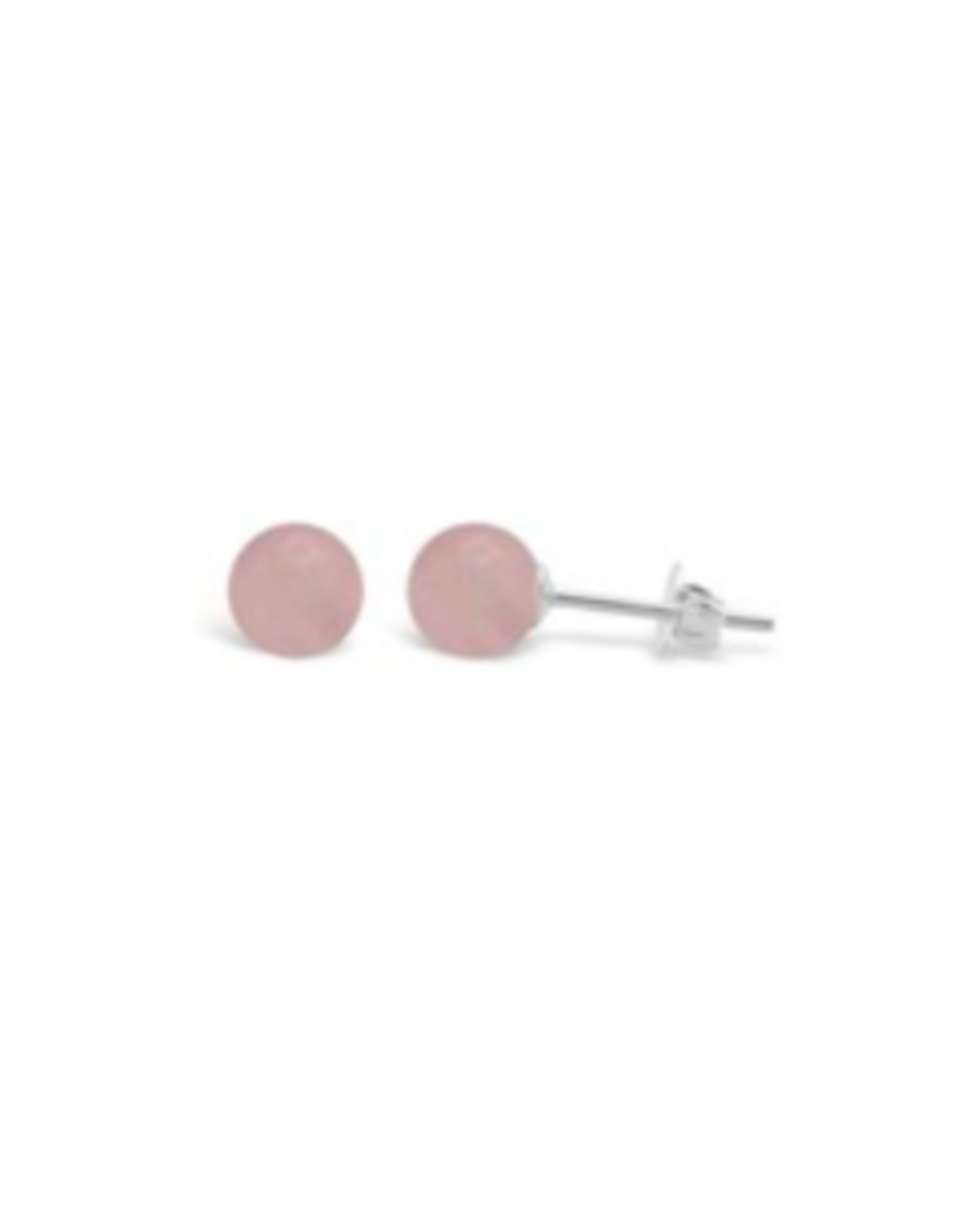Stones & Silver Rose Quartz Round Studs 8mm