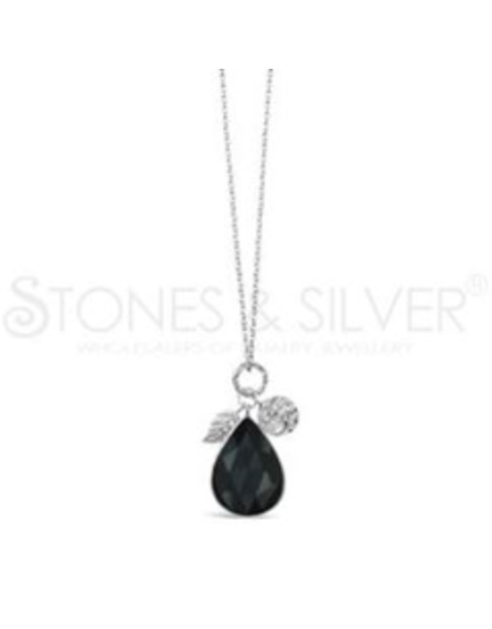 Stones & Silver Rhod Onyx Necklace 70cm