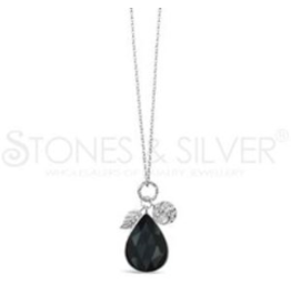 Stones & Silver Rhod Onyx Necklace 70cm