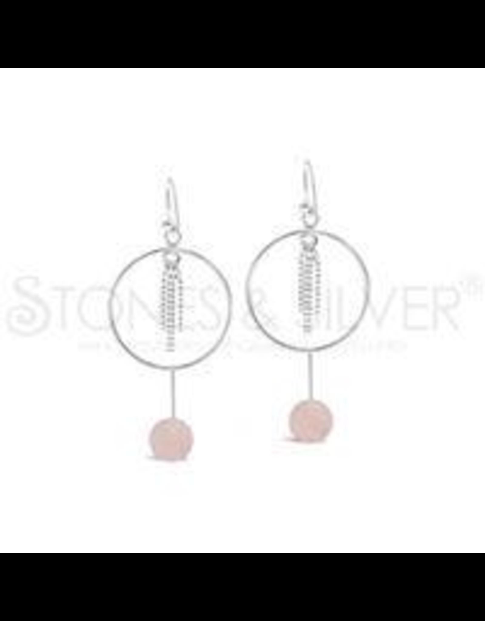 Stones & Silver Rose Quartz Hoop Earrings